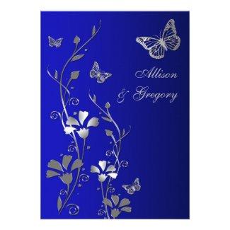Blue, Silver Floral Butterflies Wedding Invitation