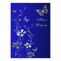 Blue, Silver Floral Butterflies Wedding Invitation (<em>$2.30</em>)