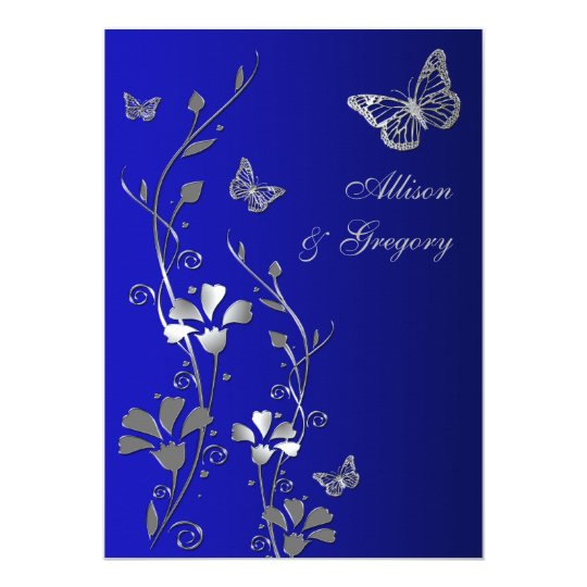 Blue Silver Floral Butterflies Wedding Invitation Zazzlecom