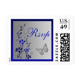 Blue, Silver Floral, Butterflies Wedding RSVP Stamps