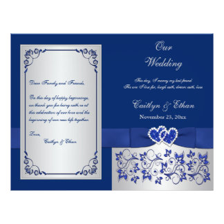 "Blue, Silver Floral Hearts Wedding Program 8.5"" X 11"" Flyer"