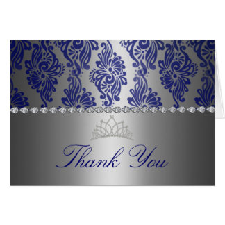 Blue & Silver Floral Print Thank You card