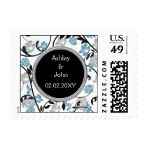 Blue silver floral wedding invitations postage