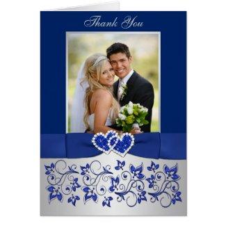 Blue, Silver Floral Wedding Photo Thank You Card