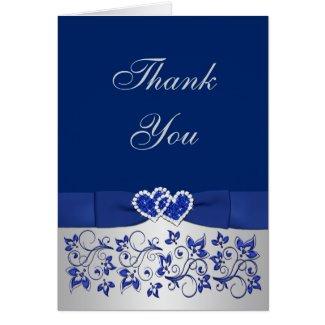 Blue, Silver Floral Wedding Thank You Card