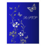 Blue, Silver Floral with Butterflies Reply Card 2 Personalized Invites