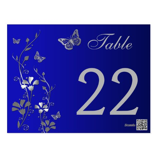 Blue Silver Floral with Butterflies Table Number Post Cards