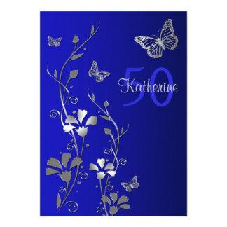 Blue Silver Flowers Butterflies 50th Birthday Custom Invitation