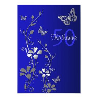 Blue, Silver Flowers & Butterflies 50th Birthday Custom Invitation