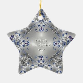 Blue + Silver Flowers - Star Ornament