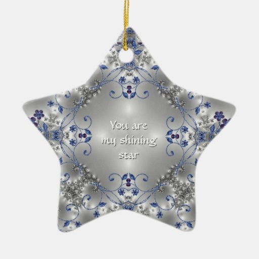 Blue + Silver Flowers - Star Ornament