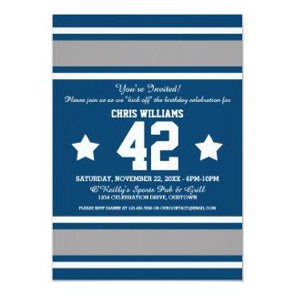 Blue Silver Football Jersey Stripes Card