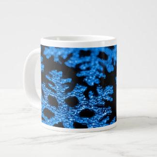 Blue silver glitter Christmas snowflake mug