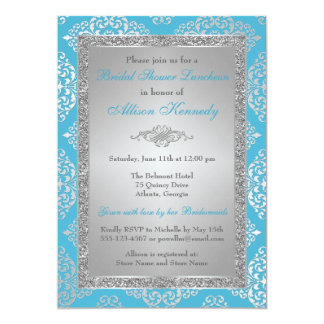 Blue, Silver Glitter Damask Bridal Shower Invite
