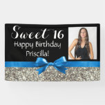 Blue Silver Glitter Photo Sweet 16 Birthday Party Banner