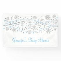 Blue & Silver Glitter Snowflake Baby Shower Banner