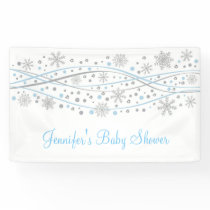 Blue & Silver Glitter Snowflake Banner