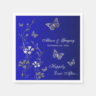 Blue, Silver Gray Butterfly Floral Paper Napkins