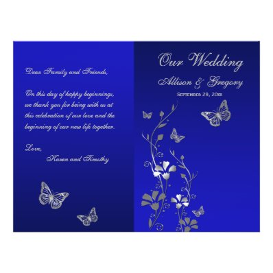 Blue, Silver Gray Butterfly Floral Wedding Program