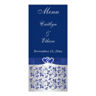 Blue, Silver Gray Floral, Hearts Menu Card
