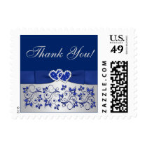 Blue, Silver Gray Floral, Hearts Thank You Postage