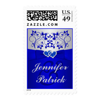 Blue, Silver Gray Floral, Hearts Wedding Postage