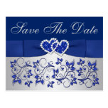 Blue, Silver Gray Floral Save the Date Postcard