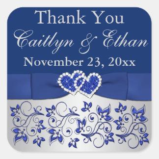 Blue Silver Gray Floral Wedding Favor Sticker