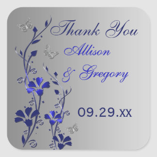 Blue, Silver Gray Floral with Butterflies Sticker