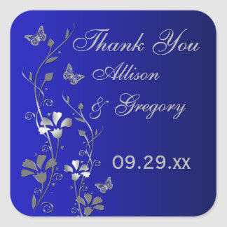 Blue Silver Gray Floral with Butterflies Sticker