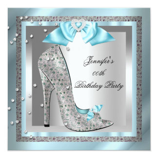 Blue Silver Gray High Heel Shoe Birthday Party 5.25x5.25 Square Paper Invitation Card