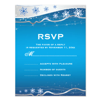 Blue, silver grey snowflake winter wedding RSVP Card