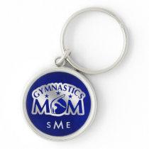 Blue Silver Gymnastics Mom Monogram Keychain