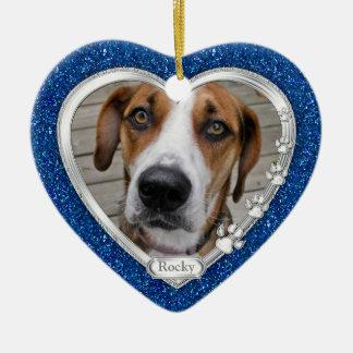 Blue Silver Heart Pet Dog Memorial Photo Christmas Ceramic Ornament