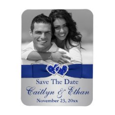 Blue, Silver Hearts Save The Date Photo Magnet at Zazzle