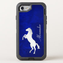 Blue Silver Horse OtterBox Defender iPhone SE/8/7 Case