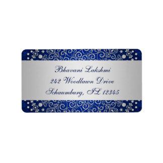 Blue Silver Intricate Scrolls Return Address Label