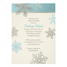 Blue Silver Ivory Snowflake Winter Baby Shower Personalized Invitation