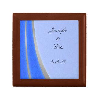 Blue Silver  Keepsake Wedding Box Trinket Boxes