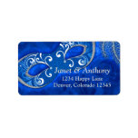 """Blue Silver Masquerade Ball Wedding Address Label<br><div class=""""desc"""">Ornate and elaborate cobalt blue (royal blue) and silver grey Victorian Masquerade or Mardi Gras wedding address labels to be used for your wedding invitations and reply cards, or just use it as a beautiful address label for whatever special occasion or party you are celebrating with a masquerade theme or...</div>"""