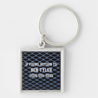 Blue Silver Metallic Lost and Found Keychain Silver-Colored Square Keychain
