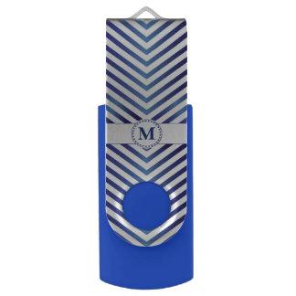 Blue & Silver Monogram Chevrons - USB Flash Drive Swivel USB 3.0 Flash Drive
