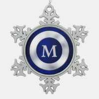 Blue Silver Monogram Christmas Snowflake Pewter Christmas Ornament