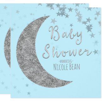 Blue & Silver Moon & Stars Baby Shower Invitations