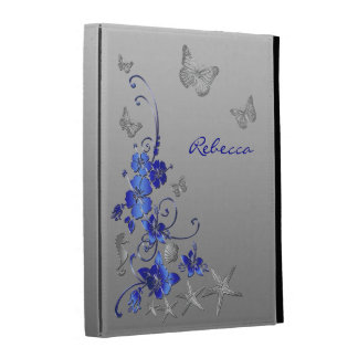 Blue, Silver Nautical, Floral iPad (1,2,3) Folio 2 iPad Folio Case