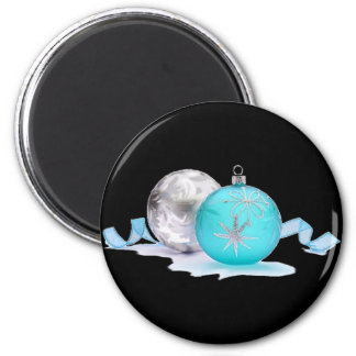 BLUE & SILVER ORNAMENTS by SHARON SHARPE 2 Inch Round Magnet
