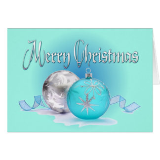 BLUE & SILVER ORNAMENTS by SHARON SHARPE Card