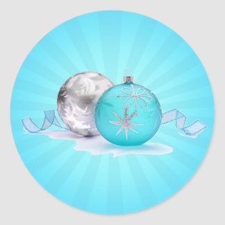 BLUE & SILVER ORNAMENTS by SHARON SHARPE Classic Round Sticker
