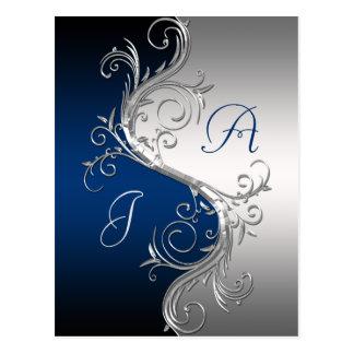 Blue Silver Ornate Swirls Save The Date Postcard
