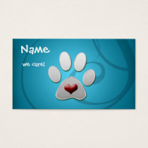 Blue Silver  Paw Heart Pet Business Cards